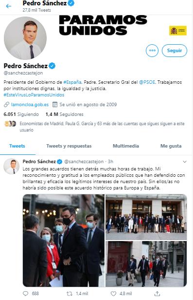 Pedro Sánchez Twtter anunciando acuerdo del fondo monetario europeo para recuperación de la nación